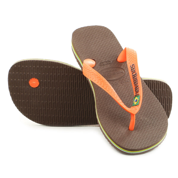 Havaianas Brasil Logo Thong Flip Flop Sandal - Coffee/Orange - Womens