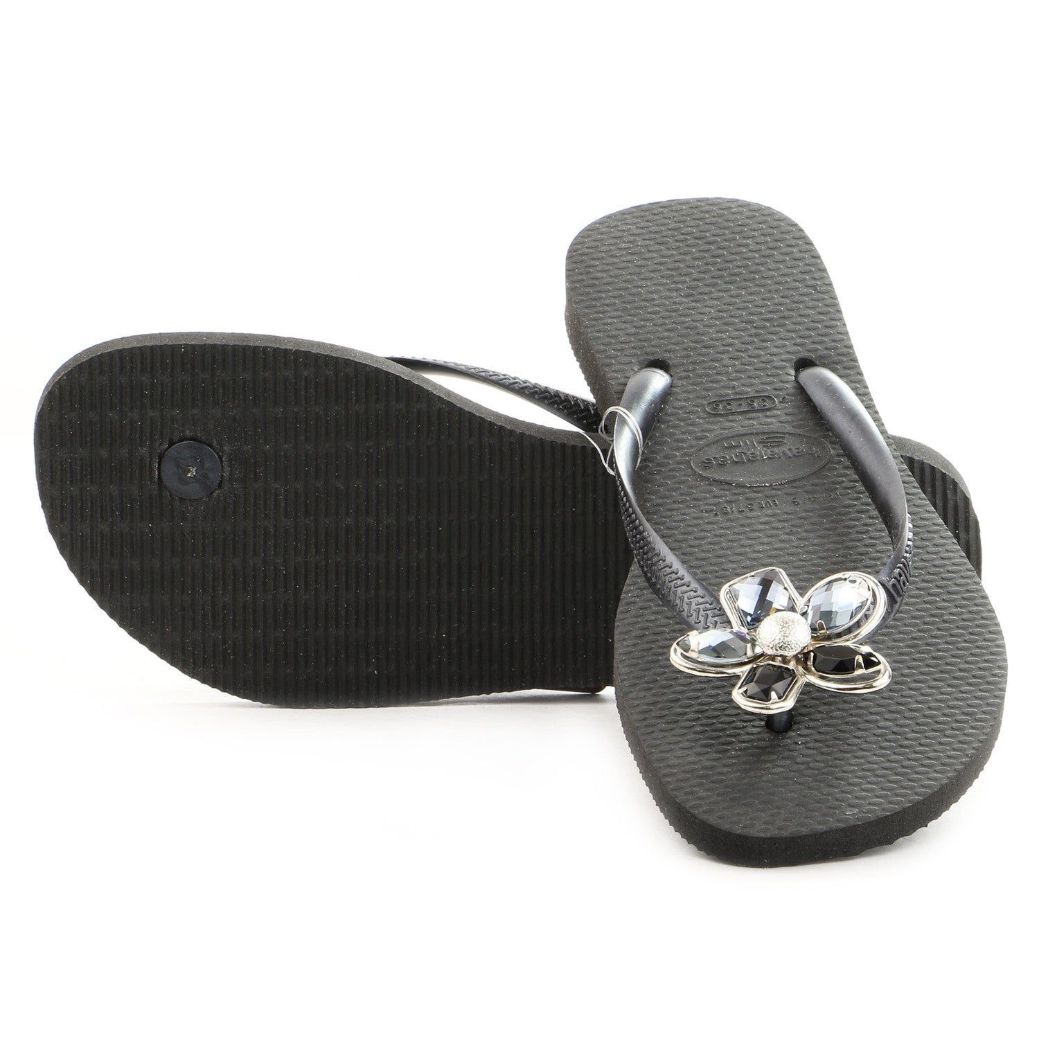 1fcb138e027047 Havaianas Slim Luxury Thong Flip Flop Sandal - Black - Womens -  Shoplifestyle