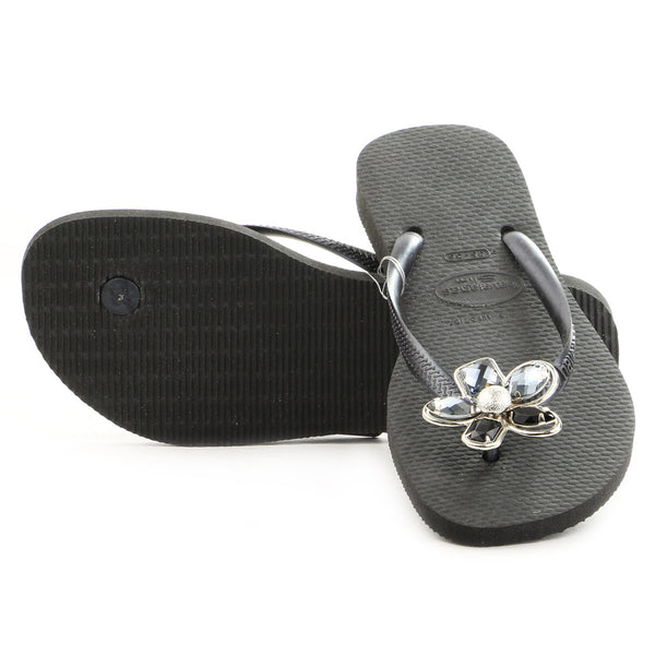 Havaianas Slim Luxury Thong Flip Flop Sandal - Black - Womens