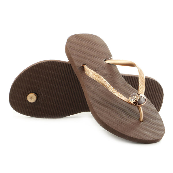 Havaianas Slim Flower Thong Flip Flop Sandal - Dark Brown - Womens