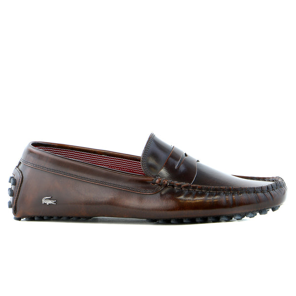 Lacoste Concours 15 SRM Driver Moccasin Loafer Fashion Shoe - Dark Brown - Mens