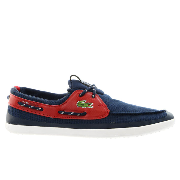 9fc7690757482 Lacoste Light and Sailing PIQ Moccasin Boat Shoe - Dark Blue Red - Mens