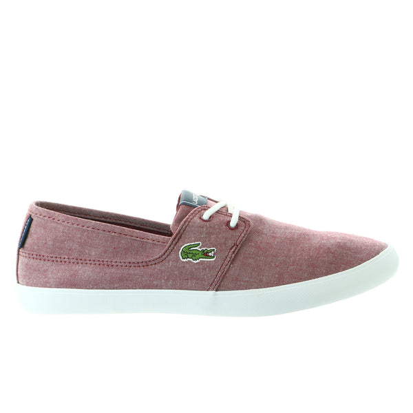 Lacoste Marice Lace LIN Chambray Fashion Sneaker Shoe - Dark Red/Dark Red - Mens