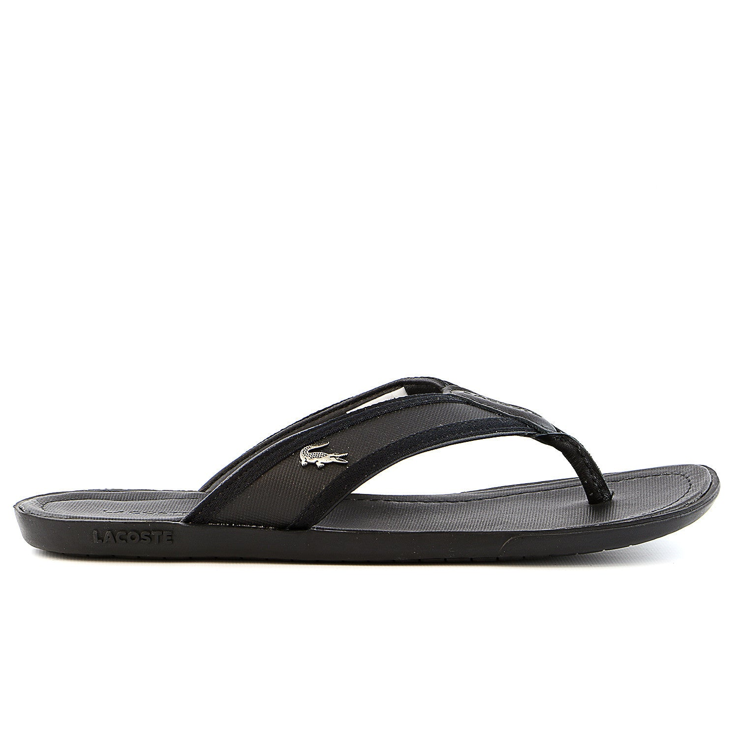 d34214fb01dc82 Lacoste Carros 6 Leather Flip Flop Thong Sandal - Black - Mens ...
