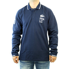 Lacoste Long Sleeve Yachting Rubber Logo Polo Shirt - Navy Blue/White - Mens