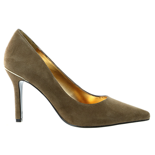 LAUREN Ralph Lauren Sarina Heels Dress Pump Shoe - Dark Brown Kid Suede - Womens
