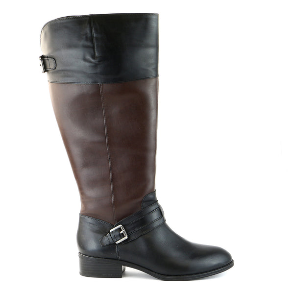 Lauren Ralph Lauren Maritza Wide Calf Riding Boots - Black/Dark Brown - Womens