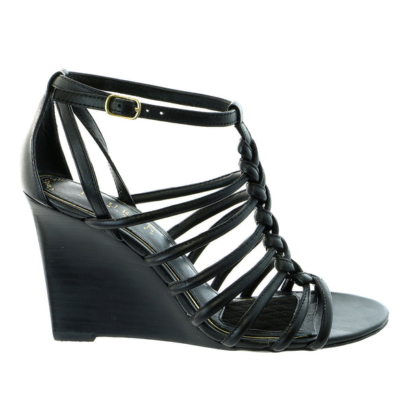 LAUREN Ralph Lauren Ailey Wedge Sandal Dress Shoe - Black Nappa - Womens