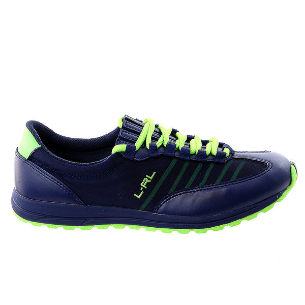 LAUREN Ralph Lauren Falon Fashion Sneaker - Modern Navy/Lime Pearl Net/Cotton Mesh - Womens