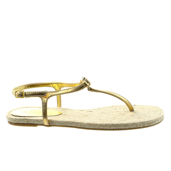 LAUREN Ralph Lauren Jolene Fashion Thong Sandal Shoe - RL Gold Metallic Kidskin - Womens