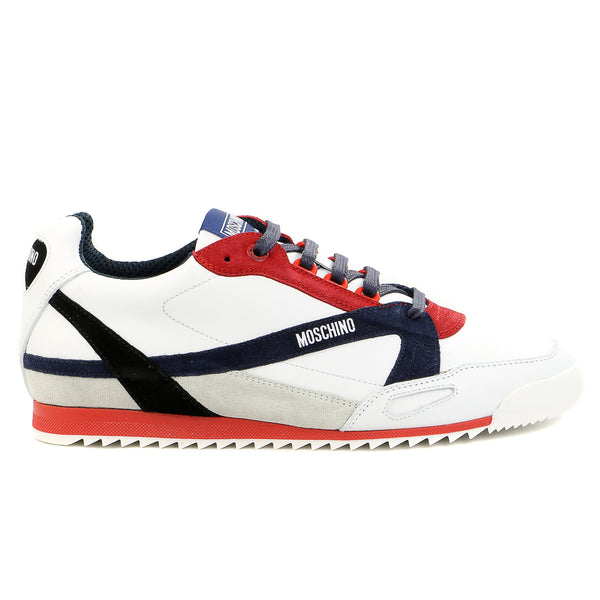Moschino 56062 Vit.Bost/Velour Fashion Sneaker Shoes - White/Blue/Red - Mens