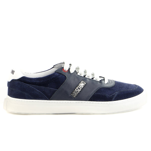 Moschino 56067 Velour/Vitello Fashion Sneaker Shoes - Blue/White - Mens