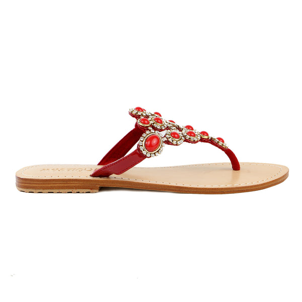 Mystique 4998 Jeweled Flat Sandals - Red - Womens