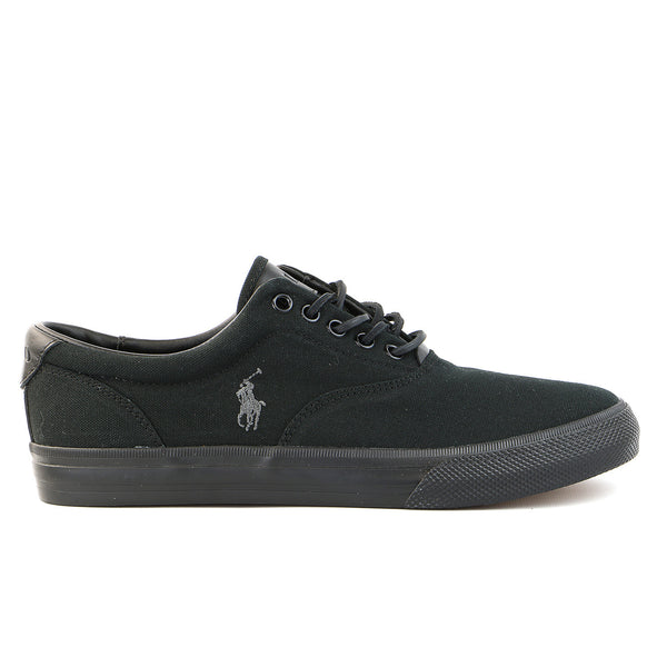Polo Ralph Lauren Vaughn Canvas/Leather Lace up Fashion Sneaker Shoe - Black/Charcoal/Black - Mens