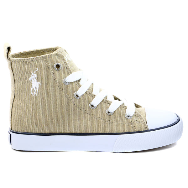 Polo Ralph Lauren Wrentham II Flag Patch Hi Top Fashion Sneaker Shoe - Khaki - Boys