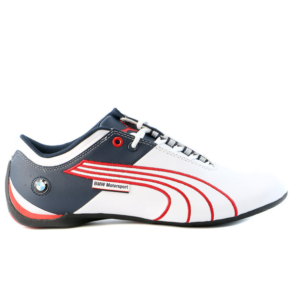 Puma BMW MS Future Cat M1 Leather Fashion Sneaker Motorsport Shoe - White/High Risk Red/BMW Team Blue - Mens