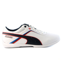 Puma BMW MS Ignite Leather Fashion Sneaker Motorsport Shoe - White/BMW Team Blue - Mens