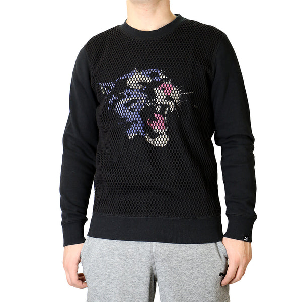 Puma Mesh Crew Neck Sweat Shirt - Black - Mens