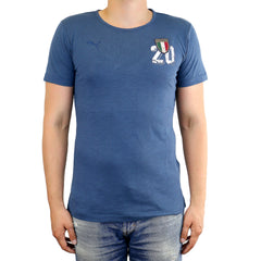 Puma FIGC Italia Azzurri Graphic Fan Tee Athletic T-Shirt - Dark Denim - Mens