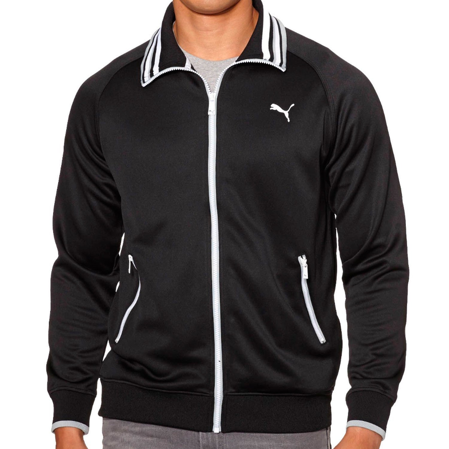 39a25f5938c5 Puma Front-Zip Track Jacket with Striped Collar - Black Quarry - Mens