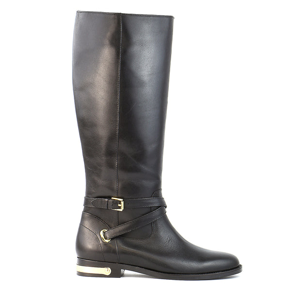 Ralph Lauren Jakayla Riding Boot  - Black Burnished Leather - Womens