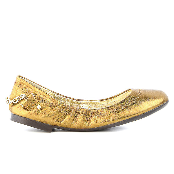 LAUREN by Ralph Lauren Barb Leather Ballet Flat Shoe - Vintage Gold/Vintage Metallic - Womens