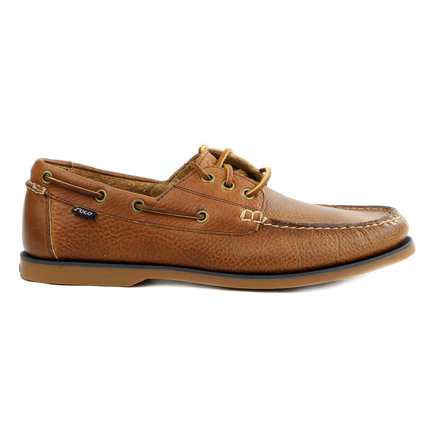Polo Ralph Lauren Bienne Boat Shoe - Tan Pull Up Leather - Mens