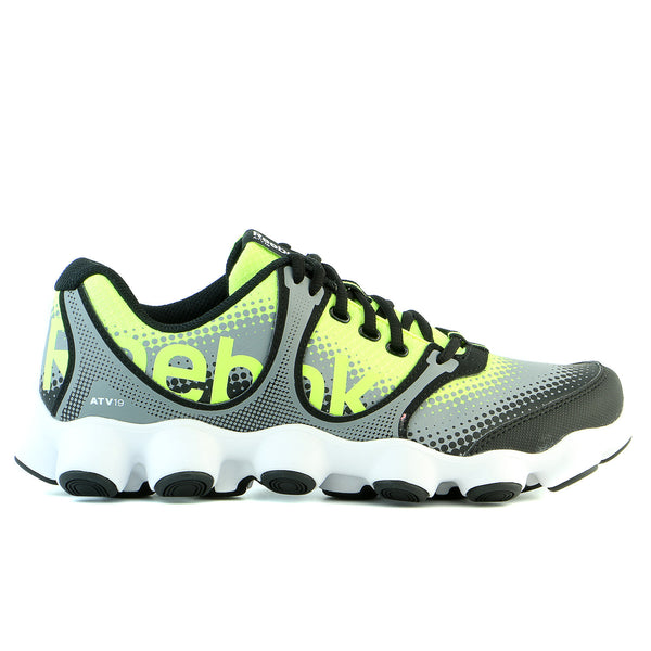 b93b095159c Reebok ATV19 Sonic Rush Running Shoe - Neon Yellow Grey Black White -