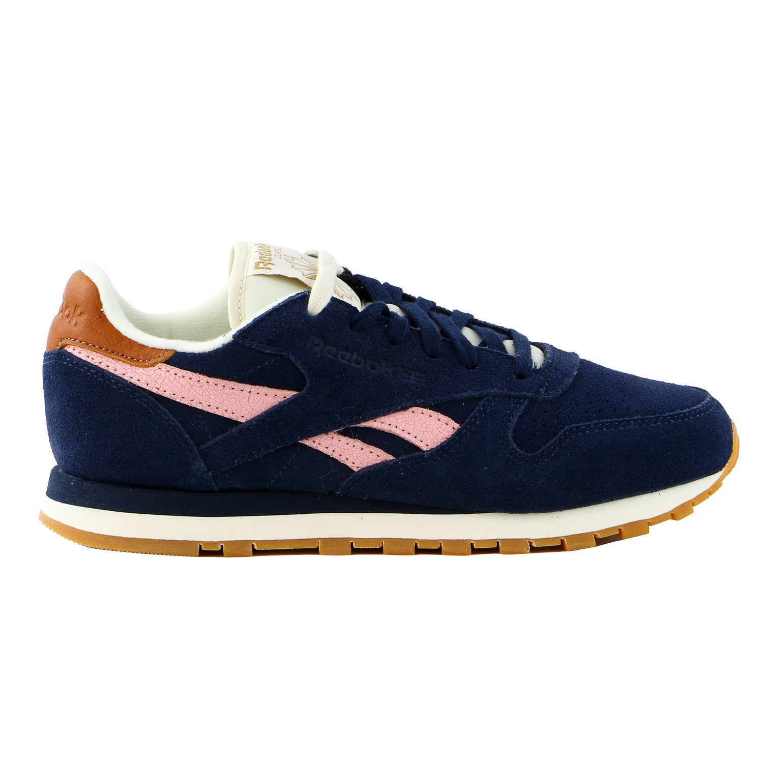 Reebok CL Leather Suede Classic Sneaker Shoe - Collegiate Navy Patina  Pink Cream White Brass - Womens 34c3898a9
