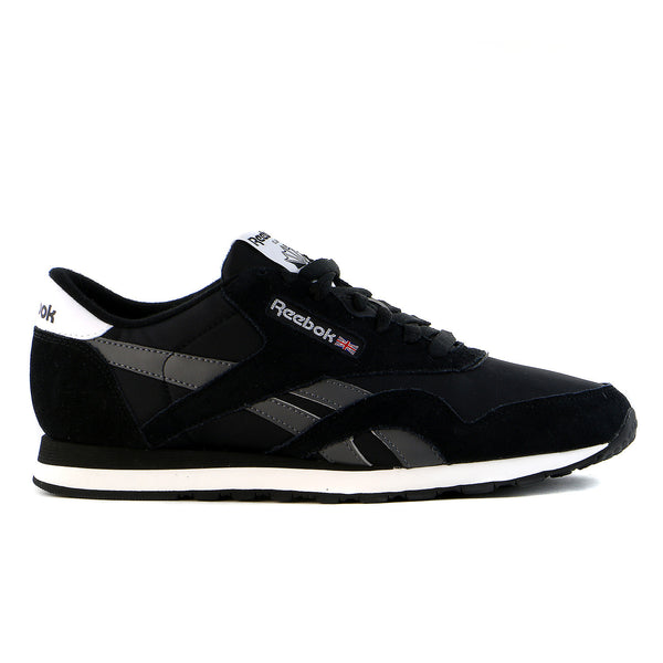 cc68b2c7934 Reebok Classic Nylon Fashion Sneaker Shoe - Black Grey White - Mens