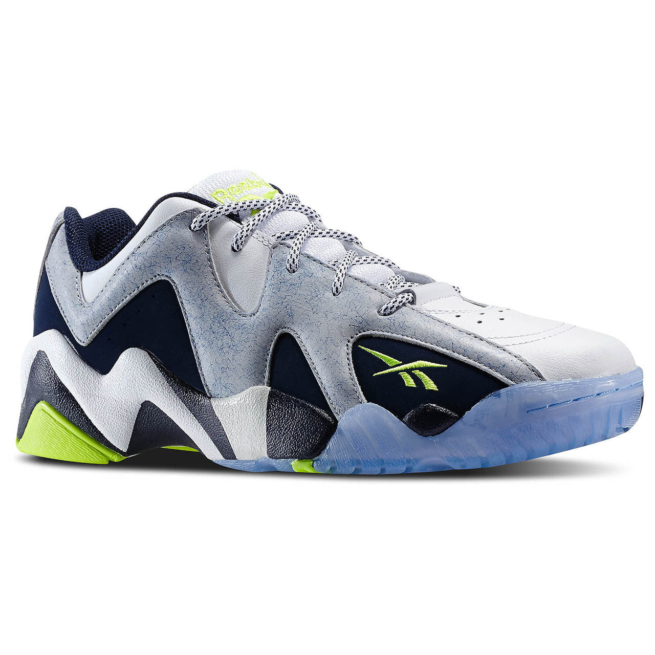 Reebok Kamikaze II Low Fashion Shoe - White Steel Blue Yellow - Mens -  Shoplifestyle d4504c014