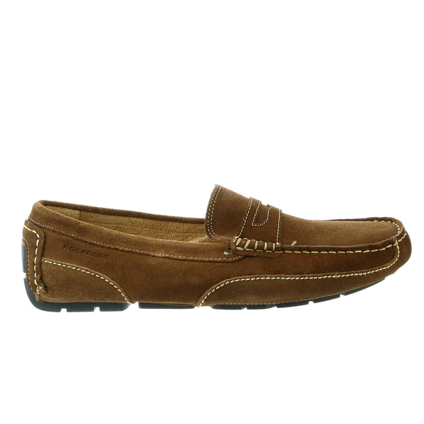Rockport Oaklawn Park Penny Moccasin Loafer Shoe - Caramel Suede - Mens
