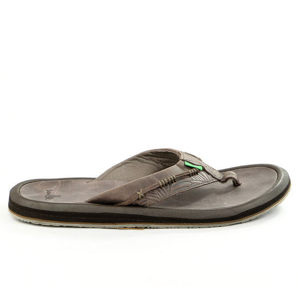 Sanuk Aloha Cowboy Flip Flop - Dark Brown - Mens