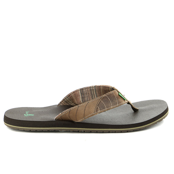 Sanuk Pave The Wave Flip Flop - Dark Brown/Tan - Mens