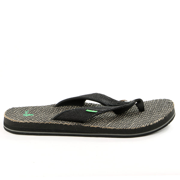 Sanuk Beer Cozy Double Jute Flip Flop - Black - Mens