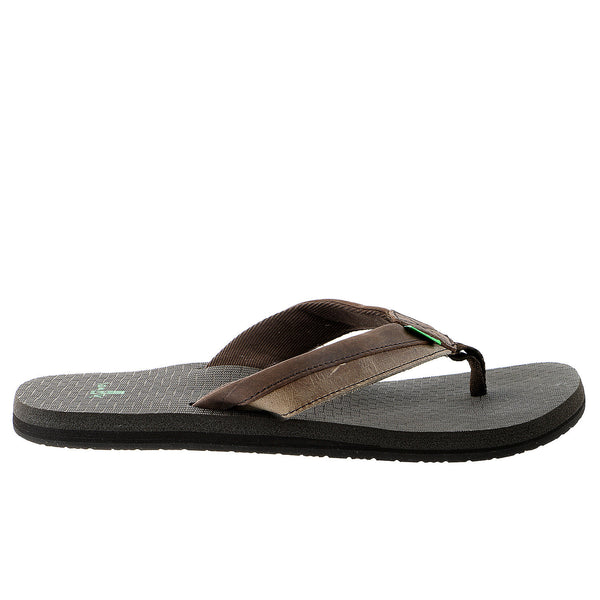 Sanuk Beer Cozy Primo Light Flip Flop Sandal - Dark Brown/Brown - Mens