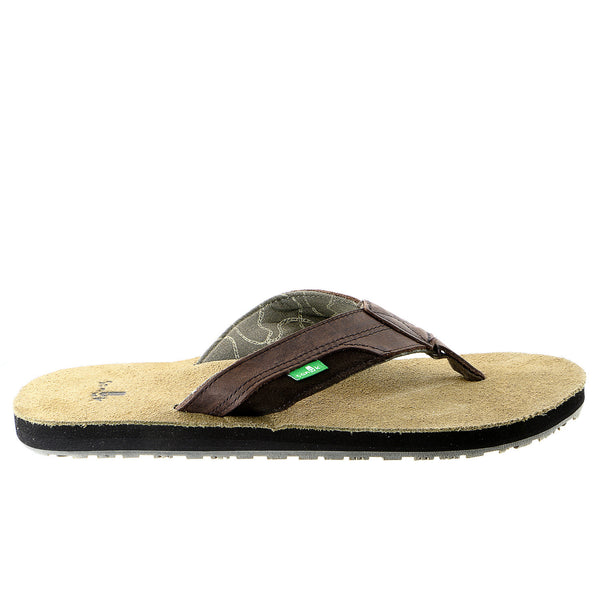 Sanuk Sheriff Flip Flop Sandal - Dark Brown - Mens
