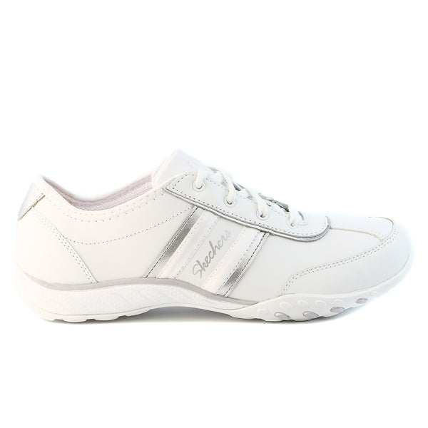 Skechers Breathe Easy - Little Gem Fashion Sneaker Shoe - White/Silver - Womens