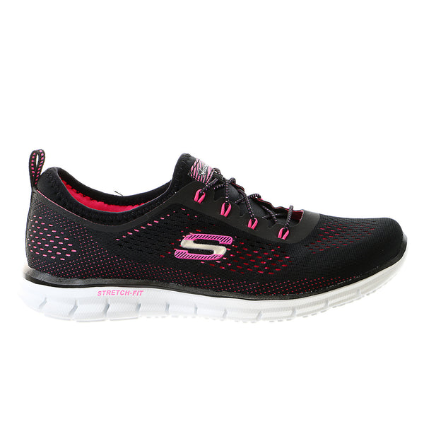 Skechers Harmony Fashion Sneaker Shoe - Black/Hot Pink-BKHP - Womens