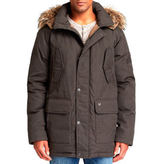 True Religion L/S Parka Winter Down Jacket - Dark Olive - Mens