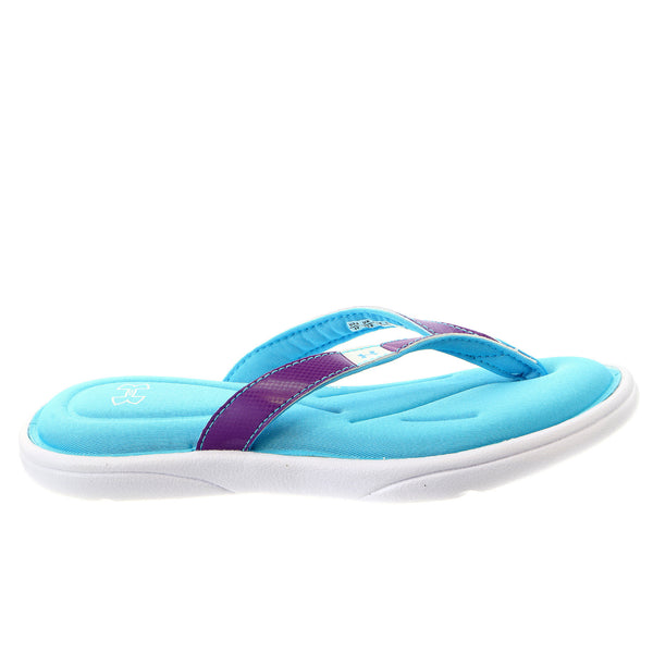 Under Armour UA Marbella IV Thong Sandal - White/IMPULSIVE PURPLE/ISLAND BLUES - Girls