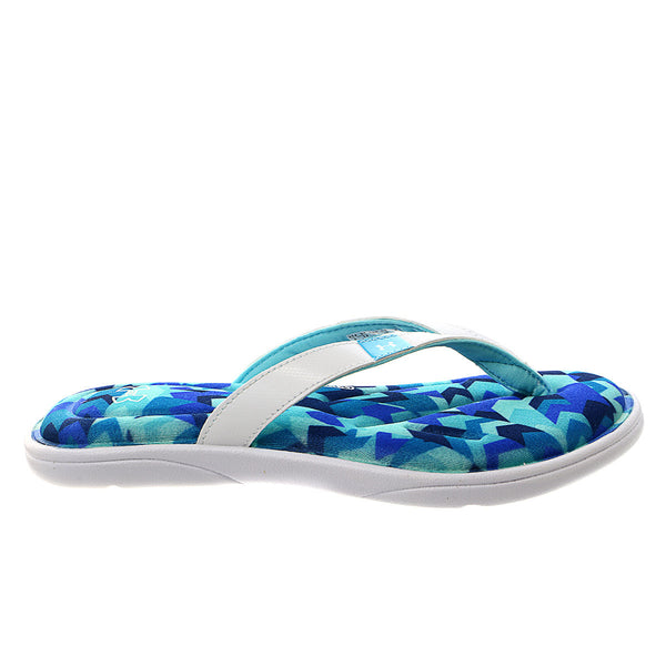 Under Armour Marbella Aztec IV Thong Sandal - White/Surfs Up/AMERICAN BLUE - Womens