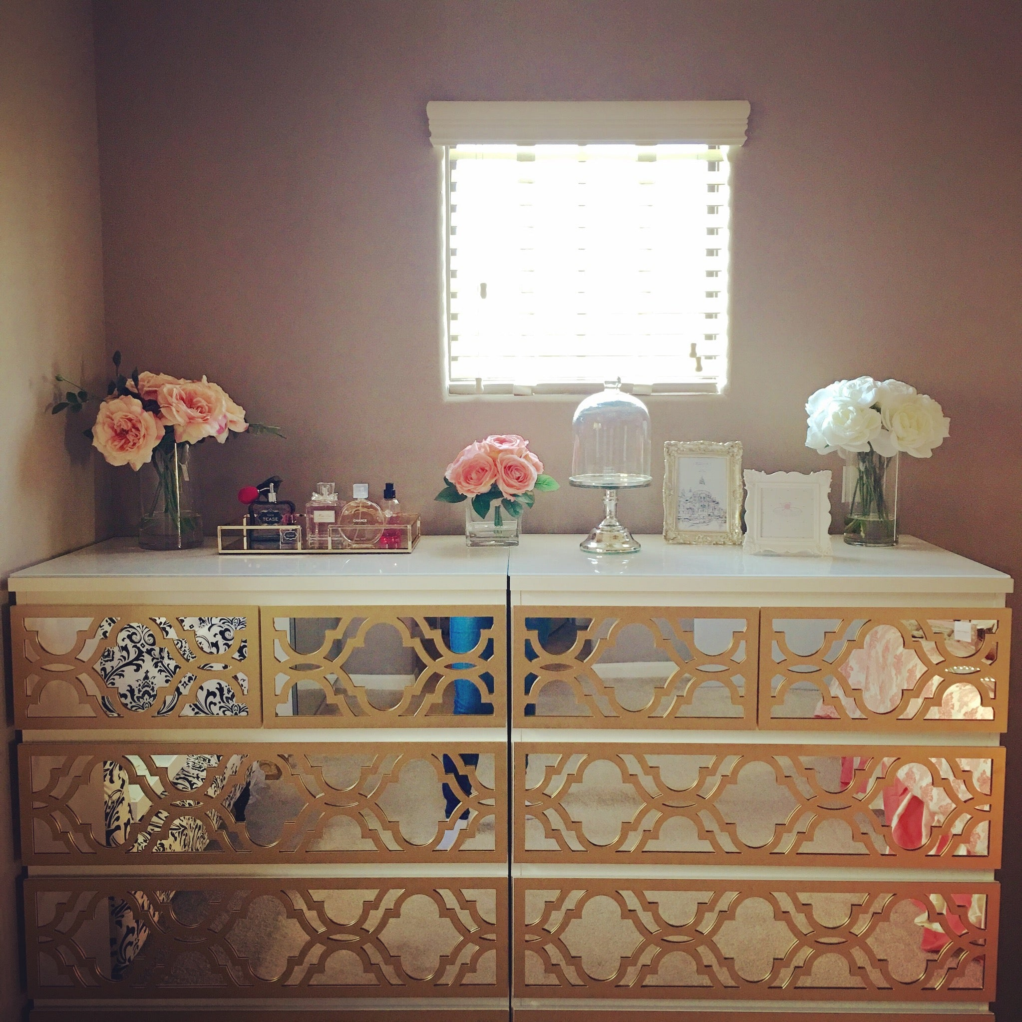 DIY Gold Mirrored Dresser with Moroccan Trellis Fretwork
