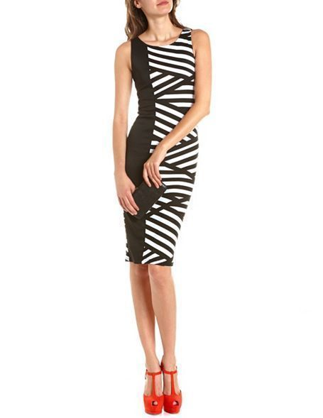 Half Black White Asymmetrical Striped Colorblock Sleeveless Bodycon