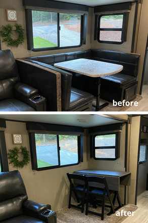 How We Removed our RV Dinette and Replacing with a Table and Chairs