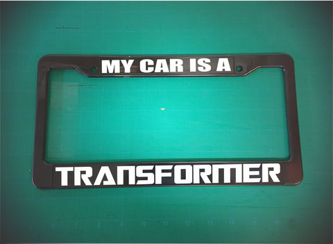 car is a transformer license plate frame