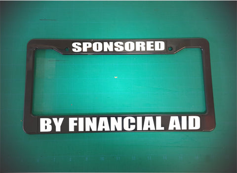 financial aid license plate frame