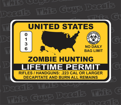 printed zombie hunting permit