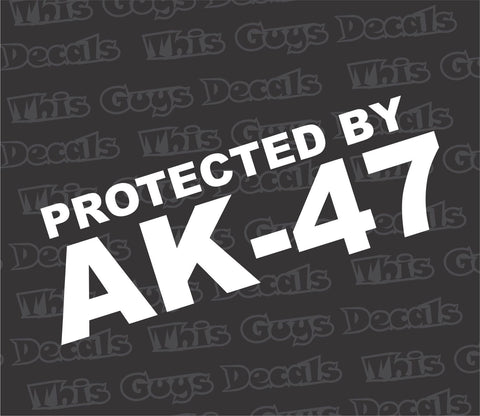 protected by AK-47 gun decal