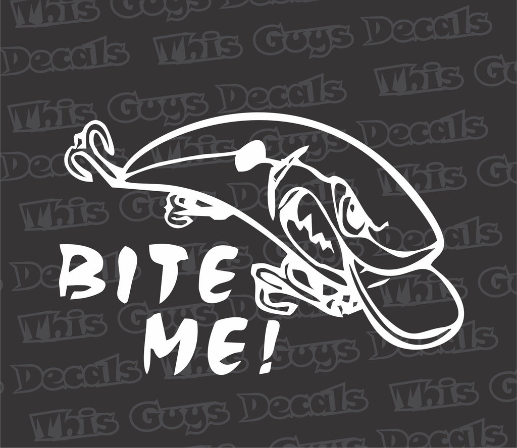 Bite me fishing decal thisguysdecals for Fishing stickers and decals